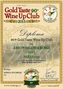 VINO PREMIADO: ABDON SEGOVIA ROBLE 2012 MENCIÓN OBTENIDA: 90+ Gold Taste Wine Up Club