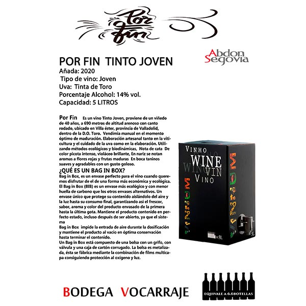 Bag in box de vino joven 5 L. et